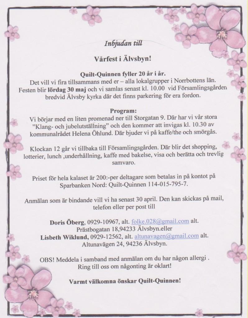Inbjudan m. blomram